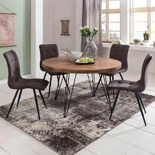 design esszimmertisch bagli rund ø 120 x 78 cm sheesham massiv holz landhaus esstisch braun tisch für esszimmer küchentisch 4 personen möbel und