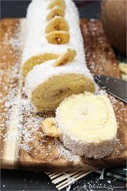 bananen kokos biskuitrolle mit puddingcreme handmade kultur