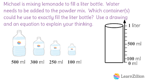 100 milliliters to liters 5 measure with liters c learnzillion