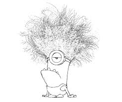 Printable Funny Minion With Bomb Exploded In His Hair