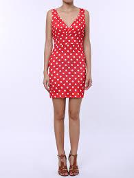 red s polka dot sleeveless bodycon dress rosegal com