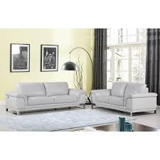 100 2 Sofa Living Room DivanItalia Arezzo Luxury Italian Leather Upholstered Piece Set Light Grey