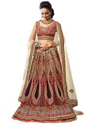 Latest Fashion Designer Lehenga Choli Or Saree With Red Sleeve Less Blouse And Begin Dupatta Heavy Embroidered Work On Net Material Buy From The