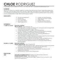 Resume Templates For Administrative Assistant Executive Example Sample Sr