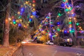 Famous Tree Lights Of Christmas Lane At Night Los Angeles Stock Photo