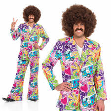 Mens Psychedelic Suit Fancy Dress Costume 60S 70S