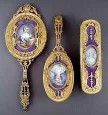 Celluloid Vanity Dresser Set by Antique French Guilloche Enamel U0026 Bronze Miniature Portrait 3 Pcs
