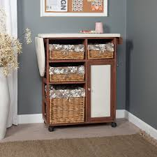 Ironing Board Cabinet With Storage by Deluxe Wood Wicker Ironing Board Center With Baskets Walmart Com