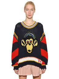 tommy hilfiger monkey intarsia knit sweater in black lyst