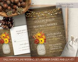 Rustic Fall Wedding Invitations Set Printable Wheat Stalks Leaves Gerbera Daisy Wood Digital Template Kit