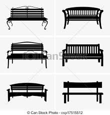 Set of six benches vector clip art Search Illustration Drawings