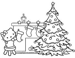 Christmas Tree With Presents Coloring Pages Hello Kitty