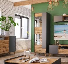 standvitrine skandi wohnzimmer glasvitrine 63cm graphit wotan eiche