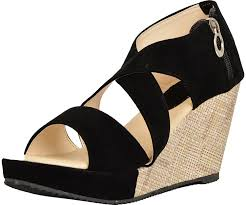 kanchan women u0027s black velvet wedges 8 uk buy online at low prices