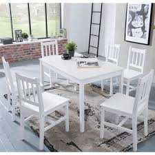 dining room set emil 7 pieces pine wood white country house
