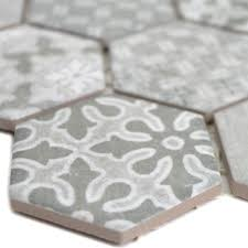 keramikmosaik retro fliesen lawinia hexagon grau