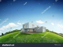 100 House Earth Modern On Green Grass Stock Illustration 757230946
