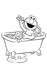 Elmo Bath Were Clean And Fresh Coloring Page