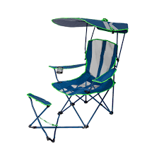 Details About Kelsyus Original Canopy Camping Chair With Ottoman, Navy Blue  And Lime Green