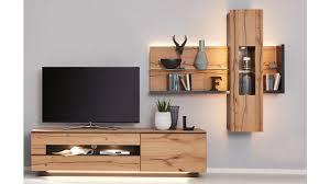 interliving wohnzimmer serie 2103 wohnwand 560001s mit beleuchtung schieferschwarzer lack asteiche dreiteilig breite
