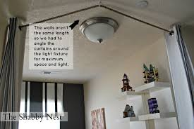 Floor To Ceiling Tension Pole Room Divider by The Shabby Nest An Ingenious Way To Hang Curtains