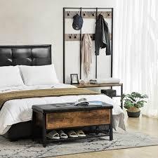vasagle schuhbank sitzbank mit gepolsterter sitzfläche und schuhregal betttruhe mit stauraum multifunktionale truhe flur schlafzimmer stahl