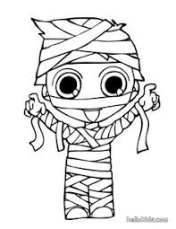 Print Out Halloween Kid Mummy Coloring Page