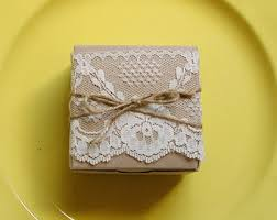 Lace And Twine Kraft Paper Boxes Gift Box Rustic Wedding Favors