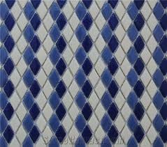 New Design Pure White Marble Chips With Blue Ceramic Mixed Floor And Wall 3d Mosaic Tiles Pattern Xiamen Terry Stone