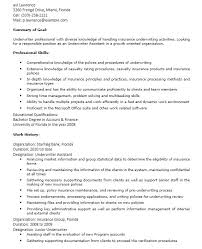 Underwriting Assistant Resume Mortgage Underwriter Summary Insurance Objective
