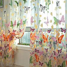 lommer vorhang transparent 2er 200x100cm gardinen set beflockung fenstersiebung voile schlaufenschal tüll fenster vorhang garn für schlafzimmer und