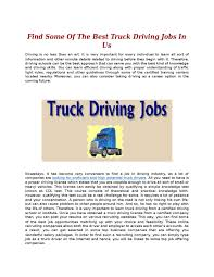 Find Some Of The Best Truck Driving Jobs In Us By Trucker Search - Issuu Long Haul Truck Driver Job Description Resume And Professional Best Fleets To Drive For 2017 American Jobs Unfi Careers Driver Jobs Highest Paying Driving In Us By Jim Howto Cdl School To 700 2 Years Great Sample Cover Letter Delivery Also Awesome Cdl Cdllife Boyd Bros Transportation Solo Company Trucking In Alabama Home Every Night Resource Choosing The Work Good Restoring Vinny 1949 Schneider Tractor Brought Back Life Flatbed Cypress Lines Inc Testimonials Train