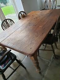 Mid / Late 1800's Farm House Table And 6 Chairs   In Halifax, West  Yorkshire   Gumtree Tilt Top English Breakfast Table 1800s Mahogany Idaho Extending Ding 141800 Folding Bistro Chair Set Teal Ch67 Of 8 Antique Ding Chairs My Primitive Antique Farmhouse It Is Late 5pc Modern Glass Grey Fabric Cushion Chairs Rectangle 9114ey6090tam1tr Early Oak Drop Leaf With One Drawer Of Six Late Georgian Country 3ft Handmade Solid Rustic Wood Reclaimed Pine Identify Queen Anne Style Fniture Irish Ronald Phillips Fine Tables Yewtree