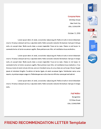 Re mendation Letter for a Friend 15 Free Word Excel PDF