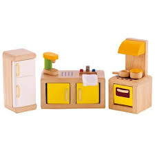 high quality hape wooden doll house furniture kitchen set with