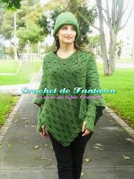 Crochet de Fantasa Crochet Poncho Asimétrico con Gorro y Guantes