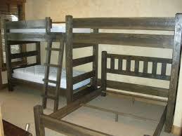 Custom Bunk Beds Cedar Panel Barnwood Triple Twin bunk bed with a
