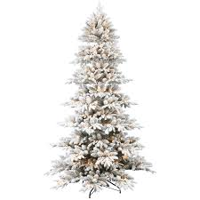 Pre Lit White Flocked Christmas Tree by D21 7 5 Ft Pre Lit Emmeline Flocked Pine Christmas Tree At Home