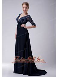 Exclusive Navy Blue Empire V Neck Mother Of The Bride Dress Brush Train Chiffon Appliques