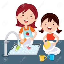 Woman And Girl Washing Dishes Kid Mother The