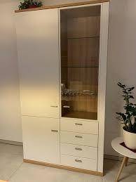 schrank vitrine wohnzimmer oder esszimmer kernbuche weiß