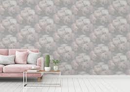 livingwalls blumen vinyl tapete new walls drea rosa grau wandtapete