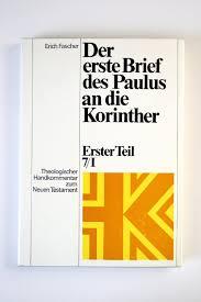 Der Erste Brief Des Paulus An Die Korintheru201c Erich Fascher Buch