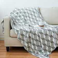 plaid sur canapé une couverture coton plaid canapé doux tricoté couverture