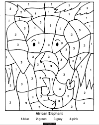 September 22 Is National Elephant Appreciation Day Color By Numbers Coloring Pages For Kids Printable