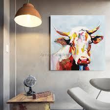 leinwand malerei acryl kuh malerei wand kunst bilder für wohnzimmer wohnkultur caudros decoracion plattle messer tier kunst
