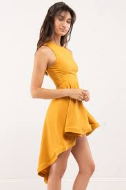 fall high low skater dress in mustard yellow