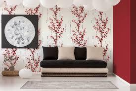 tapete kirschblüten zweige asiatische zeichen rot schwarz weiß
