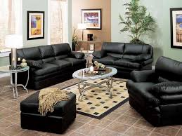 fantastic black leather sofa set living room decorating ideas