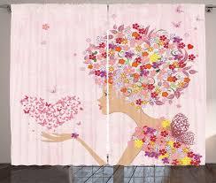 gardine schlafzimmer kräuselband vorhang mit schlaufen und haken abakuhaus rosa blumen mädchen schmetterlinge kaufen otto